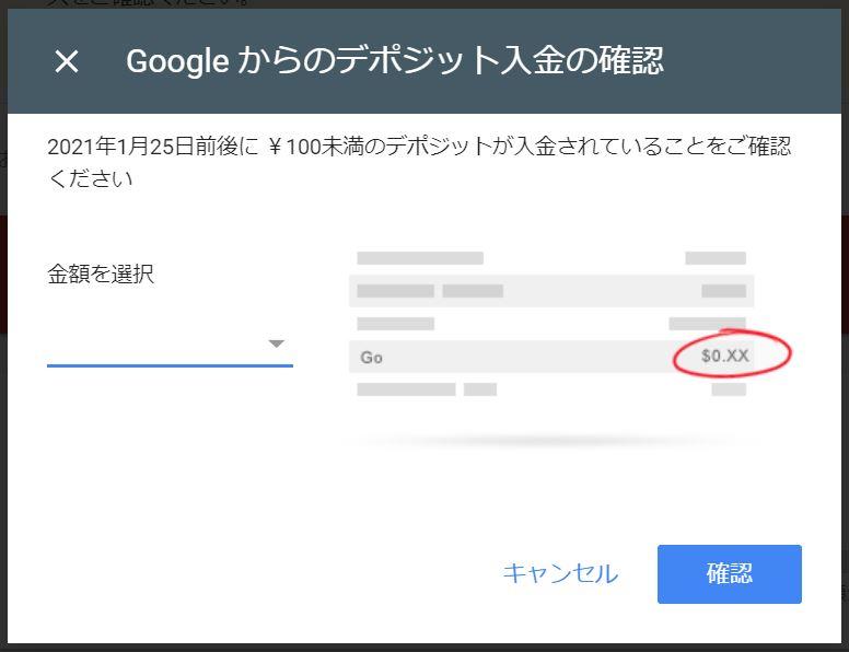 Google からのデポジット入金の確認