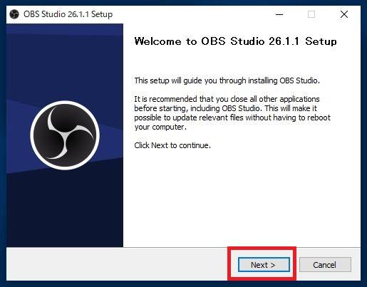 OBSセットアップ画面が出たら「next」を選択