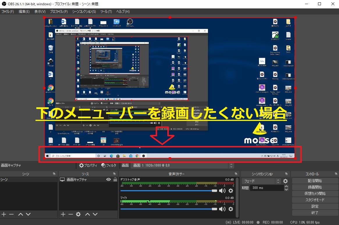 OBSの画面キャプチャで一部分だけ録画する方法