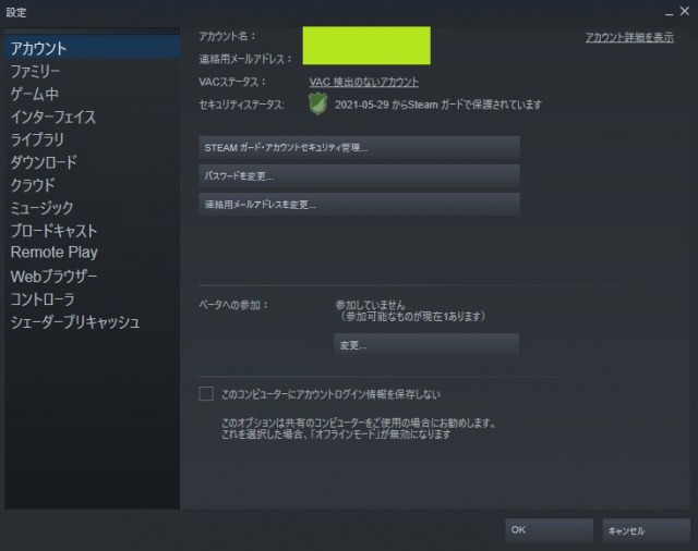 Steamの設定項目